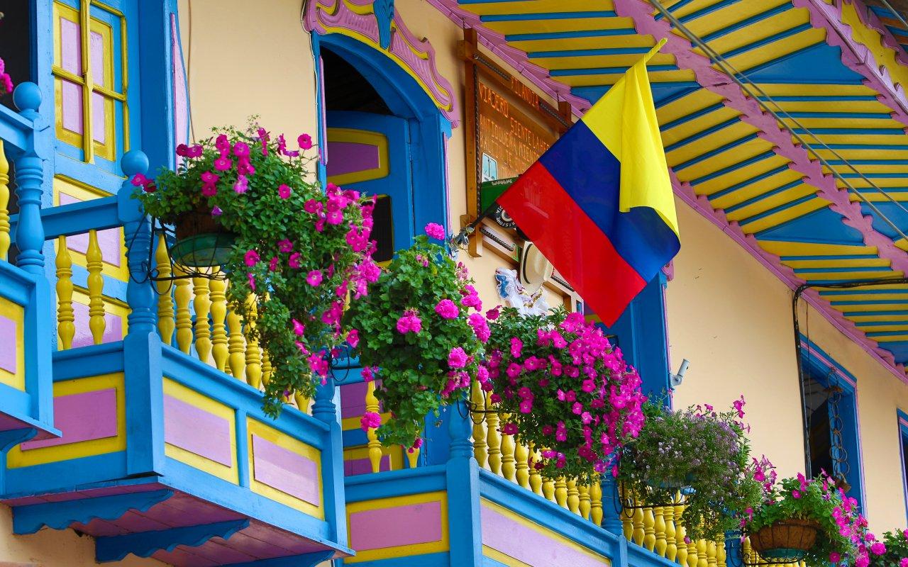Balcons colorés en Colombie