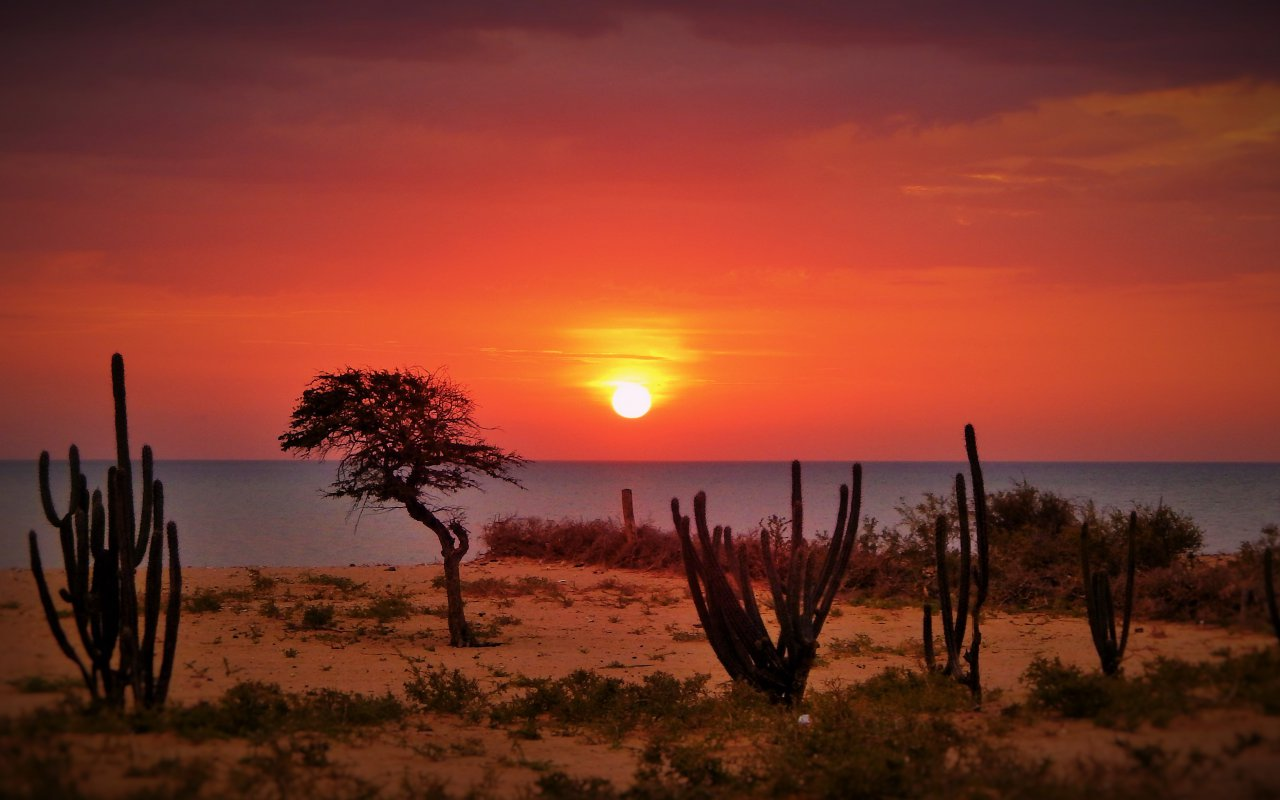 Coucher de soleil dans le désert de la Guajira en Colombie