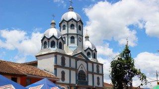 L'église du village de Filandia en Colombie