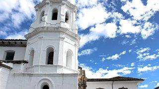 L'architecture blanche de la ville de Popayan en Colombie