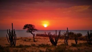 Coucher de soleil sur la Guajira