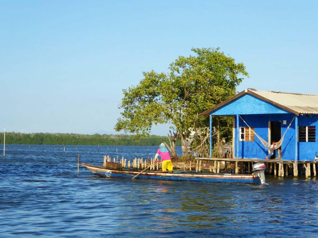 Maison flottante dans la Cienaga en Colombie