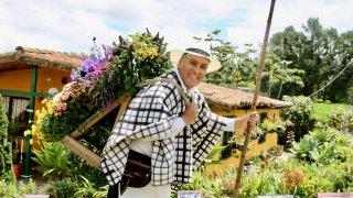 Un silletero de la fête des fleurs à Medellin
