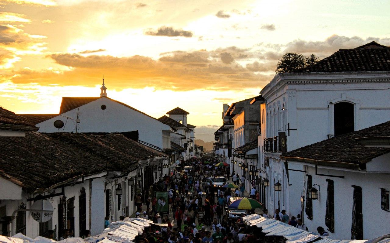 Coucher de soleil sur la ville de Popayan